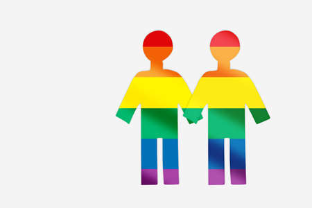 LGBT rainbow man model hand holding together isolated on white background. Love is love equality challenge concept and couple goals idea Stock fotó