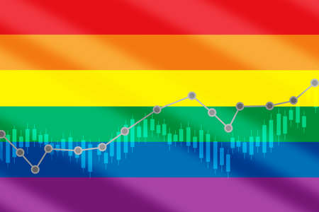Growth graph on LGBT lesbian gay bisexual transgender rainbow pride diagonal flag background. Making money with trading concept and return on investment roi idea