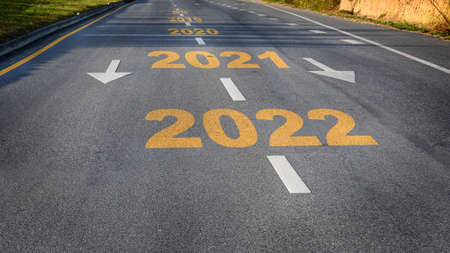 Road to new year 2022, business challenge concept and keep moving with success idea