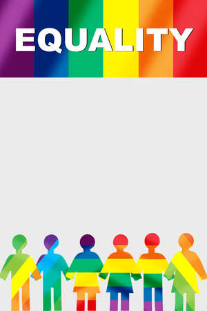 Equality word on rainbow flag and LGBT human rainbow model on white background. Lesbian gay bisexual transgender concept and equality diversity idea Stock fotó