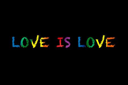 Love is love lgbt equality symbol lettering on black background. T-shirt poster design concept and diversity freedom idea Reklamní fotografie