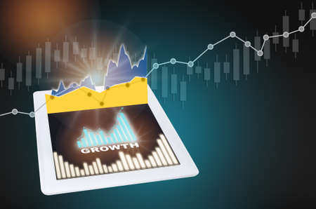 Return on investment business trading concept and growth graph idea. Growth word and arrow with chart on computer tablet on finance technology profit success background Reklamní fotografie - 164804387