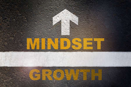 Growth mindset and white arrow written on asphalt road surface with white starting lines. Self development to success concept and challenge idea Reklamní fotografie - 164879225