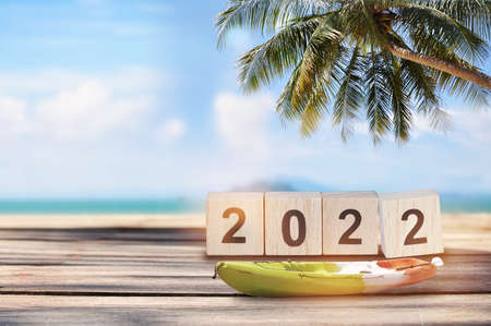 2022 written on wooden cube with boat kayak on planks on tropical beach background, natural bakground concept and happy summer holiday idea Reklamní fotografie
