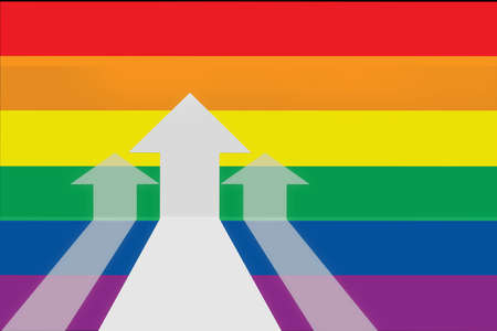 Three Yellow arrow upward on rainbow flag background. Return on investment for LGBT lesbian gay bisexual transgender concept and happy pride idea Reklamní fotografie