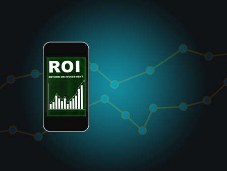 Return on investment ROI words on smart phone screen with growth graph background. Financial technology concept and making money with saving idea Reklamní fotografie