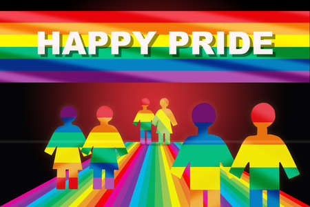 Happy pride word on rainbow flag and LGBT human rainbow model on colorful road. Lesbian gay bisexual transgender concept and equality diversity idea Reklamní fotografie - 165288746