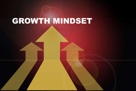 Growth mindset word and three Yellow arrow upward on red abstract background. Self development to success concept and challenge keep moving idea