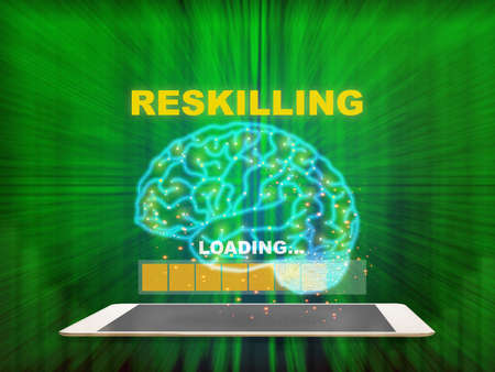 Reskilling loading on brain modern technology machine learning on computer tablet with pattern of green binary code decimal motion blur background Reklamní fotografie - 165432559