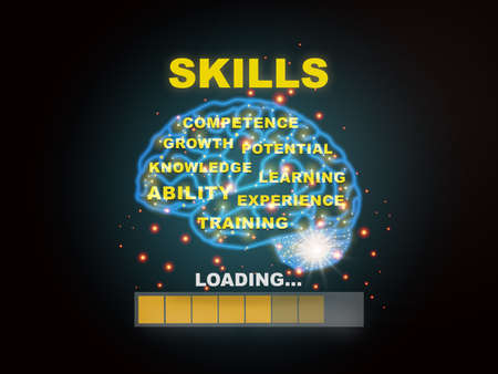 Skills loading with brain modern technology machine learning background. Learning concept and reskilling and upskilling idea Reklamní fotografie