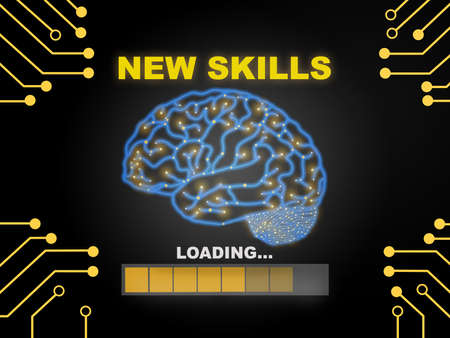 New skills loading with brain modern technology machine learning background. Reskilling and upskilling concept