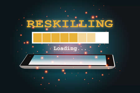 Reskilling loading on smartphone on abstract background. New skill concept and technology transformation learning model idea