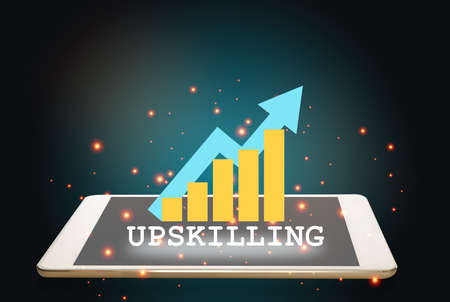 Upskilling is changing business concept and learning technology idea. Upskilling and growth graph on computer tablet on revolution abstract background. 3d illustration and 3 rendering
