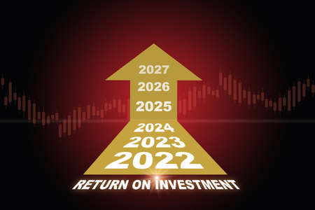 Year 2022 to 2027 and return on investment roi word growth graph with yellow arrow on red background. Business direction to success concept and economic trading challenge idea Reklamní fotografie
