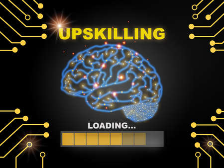 Upskilling loading with brain modern technology machine learning background. Learning new technology concept and new skills idea Reklamní fotografie
