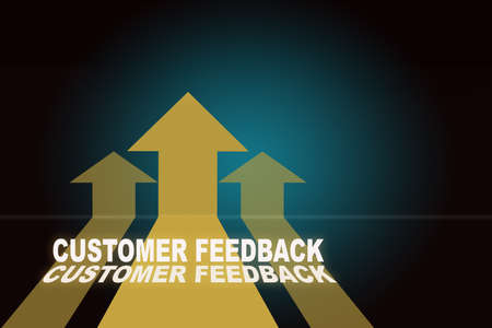 Customer feedback and three Yellow arrow upwards on blue background. Service rating satisfaction concept and five star review idea Reklamní fotografie - 166074576