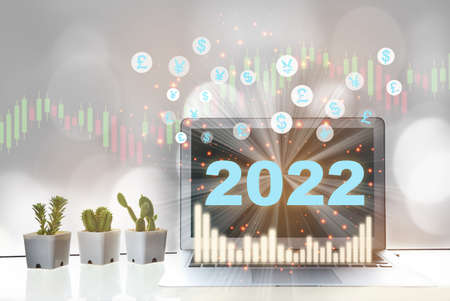 New year 2022 financial technology is changing business. Artificial intelligence and digital transformation concept and growth graph with return on investment idea