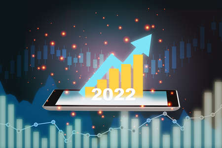 New year 2022 growth graphs return on investment on smartphone on abstract background. Artificial intelligence innovation trading concept and financial technology transformation idea Stock fotó