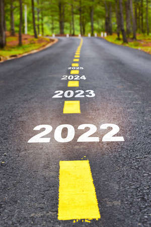 New year of 2022 2023 2024 and 2025 on asphalt road surface with marking lines. Happy new year concept and keep moving idea Stock fotó