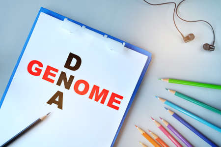 Genome and dna written on paper with colored pencil on desk. What is a genome concept and dna education idea Stock fotó