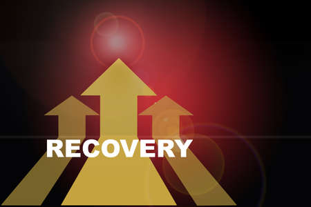 Recovery word and three Yellow arrow upward on red abstract background. Self development to success concept and challenge keep moving idea