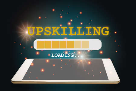 Upskilling loading on computer digital tablet on abstract background. New skill concept and technology transformation learning model idea. 3d illustration and 3d rendering