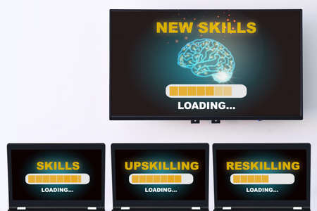 New skills loading with brain modern technology machine learning on wide screen smart TV digital hanging on white wall with skills, upskilling and reskilling on computer laptop. Future job different