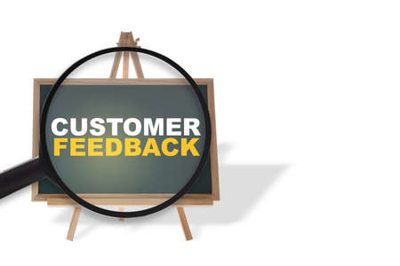 Customer feedback written on chalkboard isolated on white background. Service rating satisfaction concept and five star review idea Stock fotó