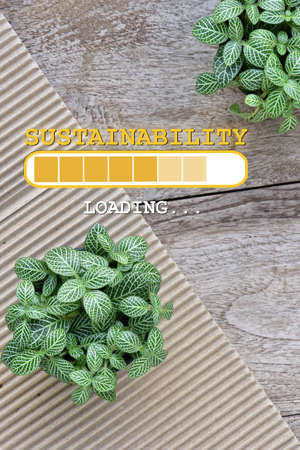 Sustainability loading conceptual. Planting a few trees, energy living concept and save the earth idea