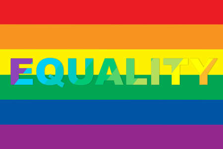 Equality word written on rainbow flag background. Lesbian gay bisexual transgender concept and equality diversity idea