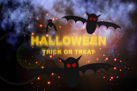 Halloween word and bat flying at night dark mystical abstract horror background with smoke. October halloween concept and scary party trick or treat idea