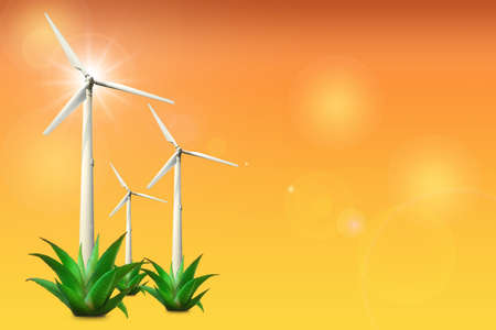 Wind turbine clean energy on orange shade color background. Clean energy concept to sustainable future concept and alternative energy economic growth idea. Stock fotó