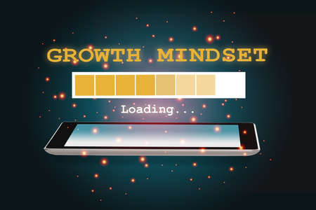 Growth mindset loading on smartphone on abstract background. New skill concept and technology transformation learning model idea