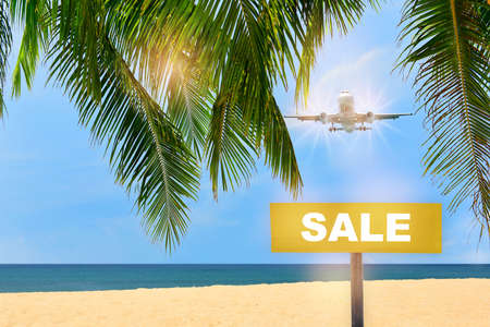 Sale word written on yellow sign and commercial plane flying on blue sky with coconut palm leaves and tropical beach background. Happiness business travel concept and recovery idea Stock fotó