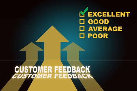 Customer feedback excellent good average and poor and three Yellow arrow upwards on blue background. Service rating satisfaction concept and five star review idea Reklamní fotografie