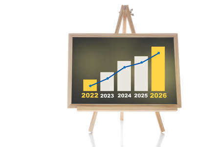 Five years financial growth graph stock trading on chalkboard isolated on white background. Return on investment roi concept and education making money idea