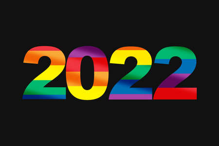 2022 colorful rainbow word lgbt equality symbol lettering on black background. LGBT equality happu new year concept and diversity freedom idea Reklamní fotografie