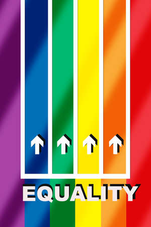 Equality word with white arrow on colorful rainbow racetrack with shadow background. LGBT equality challenge concept and diversity freedom idea