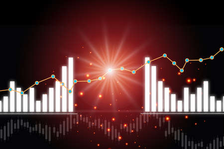 Growth graphs on red abstract background. Stock market trading profit and risk concept and making money with saving idea Reklamní fotografie