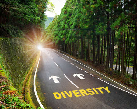 Diversity and arrow marking on highway road and white marking lines in the forest. Opportunity and decision concept and success with direction idea