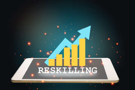 Reskilling is changing business concept and learning technology idea. Reskilling and growth graph on computer tablet on revolution abstract background. 3d illustration and 3 rendering