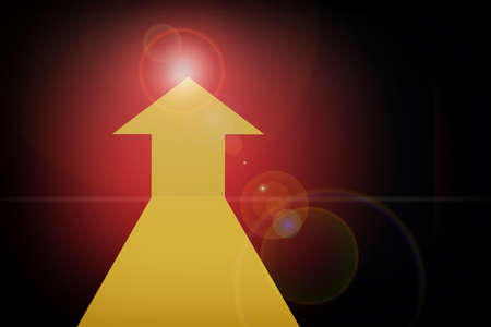 Yellow arrow upward on red abstract background. Future ahead concept and keep going idea