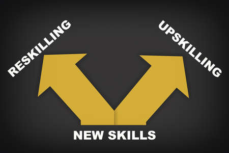 Reskilling and upskilling direction with yellow arrow on grey background. New skills development concept and power of learning idea Reklamní fotografie