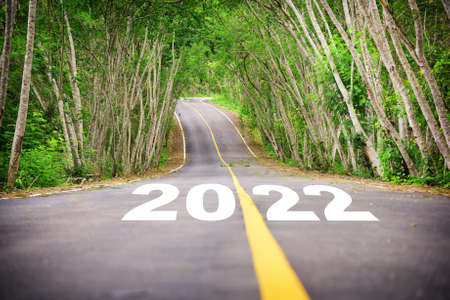 New year 2022 on asphalt road surface with tree tunnel. Business beginning to success concept and challenge idea Reklamní fotografie