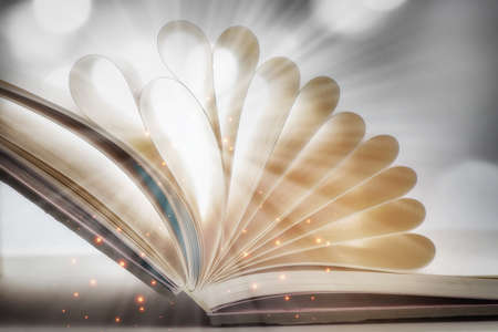 Open book fantasy with shape of paper. Miracle with mystery concept and hallow depth of field idea Standard-Bild
