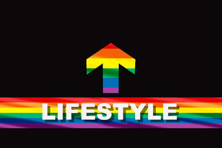 Lifestyle word on colorful rainbow flag starting line and arrow on black background. Diversity freedom concept and equality social issue idea
