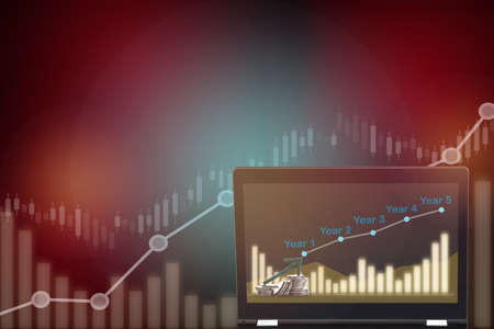 Financial growth graph on computer laptop on stock trading business chart background. Artificial intelligence innovation machine learning concept and return on investment idea. Uptrend and bull market Standard-Bild