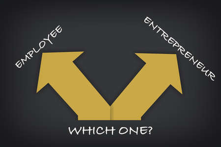 Employee and entrepreneur direction with yellow arrow on grey background. Which one is better concept and occupation challenge idea