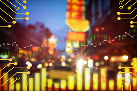 Economic growth graph stock market trading on business night city life china town background. Artificial intelligence innovation machine learning concept and financial technology theme idea Standard-Bild