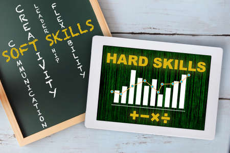 Hard skills with financial growth graph with mathematics symbol on pattern of green binary code decimal on computer tablet. Soft skills with lists of example on chalkboard. Business job success concept Standard-Bild